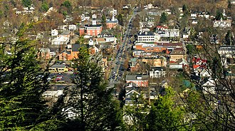 "Milford, Pennsylvania - A view of Milford from ""The Knob"", looking east down Broad Street"