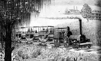 """Pontchartrain Railroad - Pontchartrain Rail-Road in its early years, depicting a 4-2-0 locomotive and carriages, """"Milneburg Train. Ponchartrain Railroad 5 mile line from Elysian Fields Street to the Shore of Lake Ponchartrain at Milneburg."""""""
