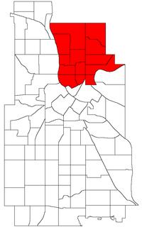 Ubicación de Northeast Community dentro de la ciudad de Minneapolis