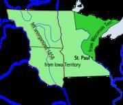 Map of Minnesota Territory 1849–1858