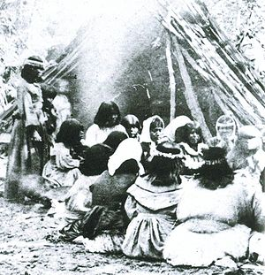 Plains and Sierra Miwok - Miwok-Paiute ceremony in 1872 at current site of Yosemite Lodge in Yosemite Valley