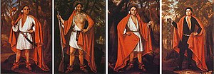 History of monarchy in Canada - Painting of the Four Mohawk Kings, done during their visit with Queen Anne in 1710