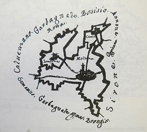Molteno - An 18th Century map of the Molteno comune, from the Biblioteca Ambrosiana in Milan.