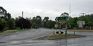 Monaro Highway - The Monaro Highway in Cann River, at its junction with Princes Highway.