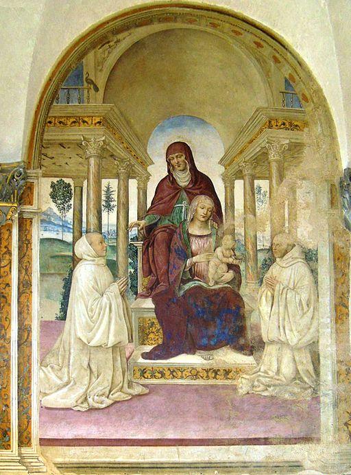 Monastero di Sant'Anna in Camprena, refettorio, Il Sodoma, Sant'Anna e la Madonna col Bambino in trono tra due monaci olivetani