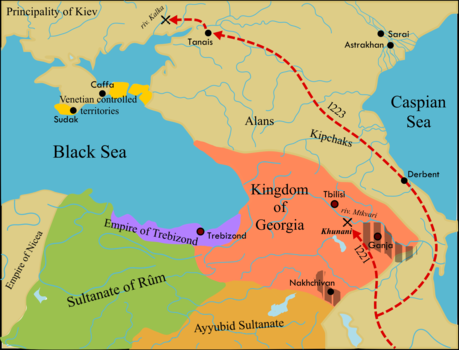 Mongol invasion of Georgia and battle of Khunan. Mongol invasion of Georgia-en.png