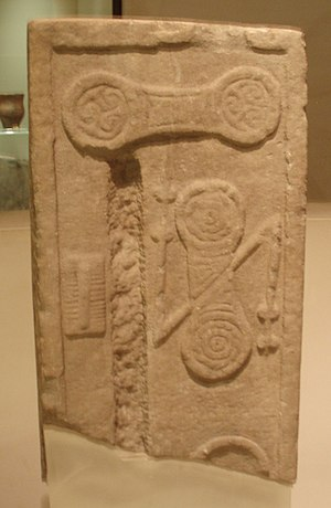 Monifieth - Pictish stone formerly incorporated within the structure of St Rule's Church, now on display at the Museum of Scotland