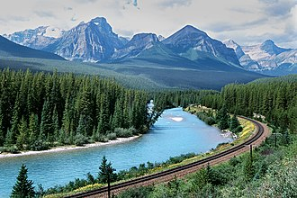 George Stephen, 1st Baron Mount Stephen - The CPR track at Morant's Curve, cutting through Banff National Park
