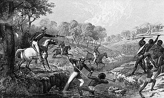 Mounted police engaging Indigenous Australians during the Slaughterhouse Creek Massacre of 1838, during the Australian frontier wars. Mounted police and blacks.jpg