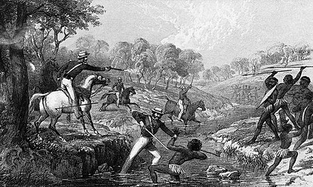 Mounted police engaging Indigenous Australians during the Waterloo Creek massacre of 1838. Mounted police and blacks.jpg