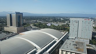 San Jose Convention Center - An aerial view of the San Jose Convention Center.