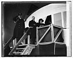 """Mrs. Coolidge christening """"Los Angeles"""" with Pres. Coolidge and Capt. Andrews, 11-25-24 LCCN2016838961.jpg"""