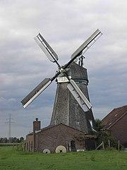 Die mit Bilauschen Ventikanten ausgestattete Windmühle in Kleve-Donsbrüggen