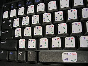 Keyboard layout - A visual layout consisting of both factory-printed symbols and customized stickers.