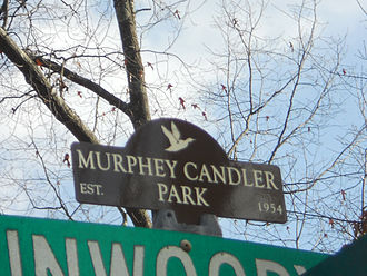 Brookhaven, Georgia - A street-sign topper of Murphey Candler Park, a residential neighborhood located in North Brookhaven