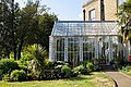 Myddelton House, Enfield, London ~ conservatory and flower bed 03.jpg