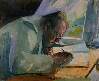 The composer at work, painting by Franz Nolken, 1913 Nolken, Reger.jpg