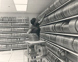 Tape library - A manual magnetic tape library, common in the 1960s and 1970s