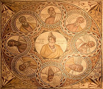 Seven Sages of Greece - Mosaïc of the Seven Sages, Baalbeck, 3rd century A.D., National Museum of Beirut.  Calliope at the center, and clockwise from top: Socrates, Chilon, Pittacus, Periander, Cleobulus (damaged section), Bias, Thales, and Solon.