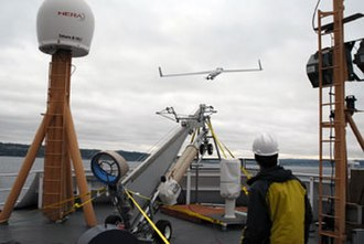 Boeing Insitu ScanEagle - A ScanEagle is launched from NOAAS Oscar Dyson (R 224) in Puget Sound in mid-October 2008.