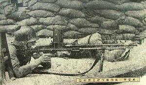 Defense of Sihang Warehouse - Chinese light machine gun position