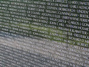 Vietnam Veterans Memorial - One panel of 'The Wall', displaying some of the names of fallen U.S. service members from the Vietnam War.