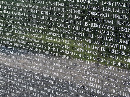 One panel of The Wall, displaying some of the names of fallen U.S. service members from the Vietnam War. Names of Vietnam Veterans.jpg