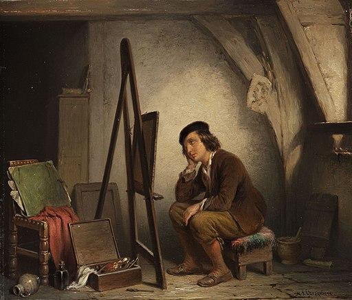 Napoleon François Ghesquiere Der vor seiner Staffelei sinnende Maler