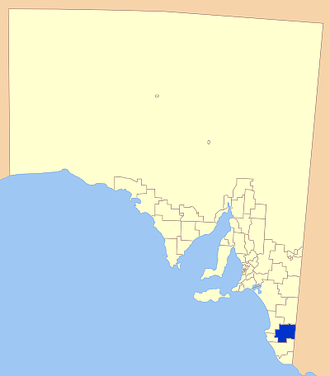 Naracoorte Lucindale Council - Position of the Naracoorte Lucindale Council in blue