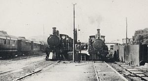 Hamley Bridge, South Australia - Different gauges at Hamley Bridge: on the left a broad gauge S class locomotive and on the right a narrow gauge Y class locomotive