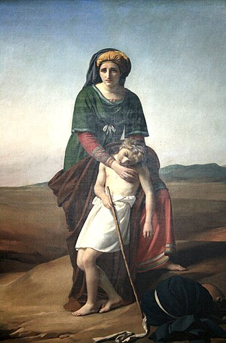 Ishmael - A depiction of Hagar, the Egyptian, and Ishmael in the Arabian desert by François-Joseph Navez.