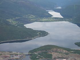 Nervatnet in Fauske seen from the air.JPG