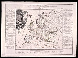 August Friedrich Wilhelm Crome - Neue Carte von Europa, 1782: For every country is a listing of products.