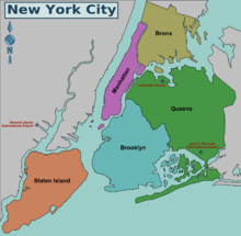 carte de new york city Liste des quartiers de New York — Wikipédia