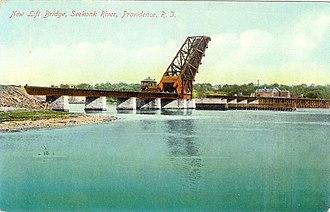 Crook Point Bascule Bridge - Postcard view of the then-new bridge