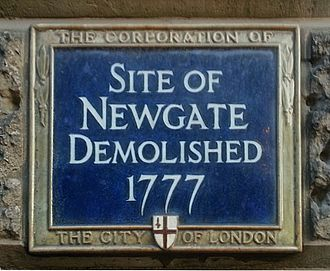 Newgate - Blue plaque on the site of Newgate