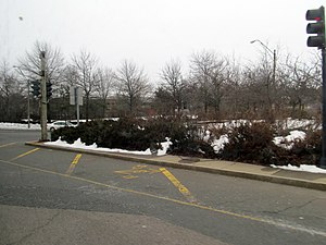 Newton Corner (MBTA station) - Location of former trolley platforms photographed in 2013
