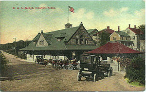 Newton Corner (MBTA station) - 1880s-built Newton Corner depot on an early color postcard
