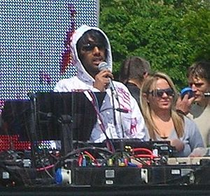 DJ Nihal - Nihal, talking to the crowd at a Radio 1 event in Preston