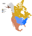 Non-Native American Nations Control over N America 1805.png