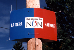 "History of Canada (1992–present) - The ""No"" sign, during the Quebec referendum, 1995"