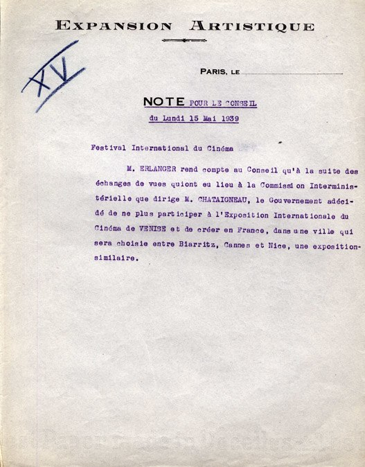 Note Cannes 1939