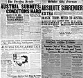 Nov 1918 US media coverage of the Empire of Austro-Hungary exiting the WWI.jpg
