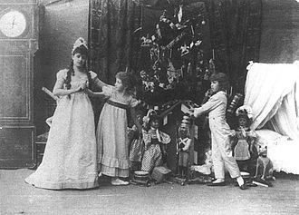 The Nutcracker - (Left to right) Lydia Rubtsova as Marianna, Stanislava Belinskaya as Clara and Vassily Stukolkin as Fritz, in the original production of The Nutcracker (Imperial Mariinsky Theatre, St. Petersburg, 1892)