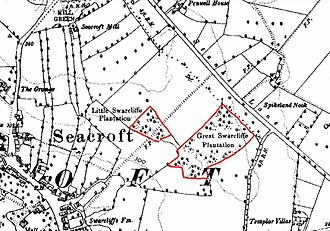 Swarcliffe - An 1893–1894  Ordnance Survey map of Seacroft, showing Swarcliffe's woods/plantations (marked in red)