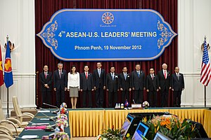 Foreign relations of Cambodia - Delegates of the ASEAN Summit pose for a photograph at the Peace Palace in Phnom Penh, Cambodia, on 19 November 2012.