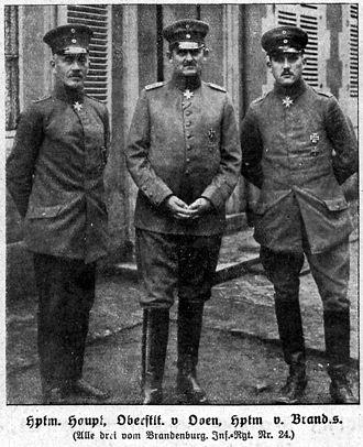 Fort Douaumont - Captain Hans-Joachim Haupt, Lieutenant-Colonel von Oven, Captain Cordt von Brandis