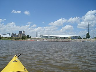 North Canadian River - The Oklahoma River from a kayak in the center of the recreational rowing area - Chesapeake Boathouse and downtown skyline in background Oklahoma City, Oklahoma