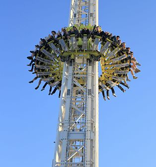 Drop tower attraction at Munich Oktoberfest