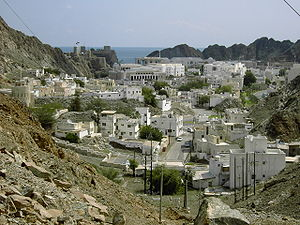 Old Muscat - Modern view of Old Muscat from the mountain road